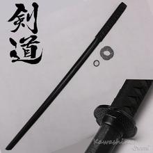 Espada de madera dura samurái Bushido entrenamiento Katana Bokken práctica Kendo Stick PU vaina Scabbard Negro 100cm