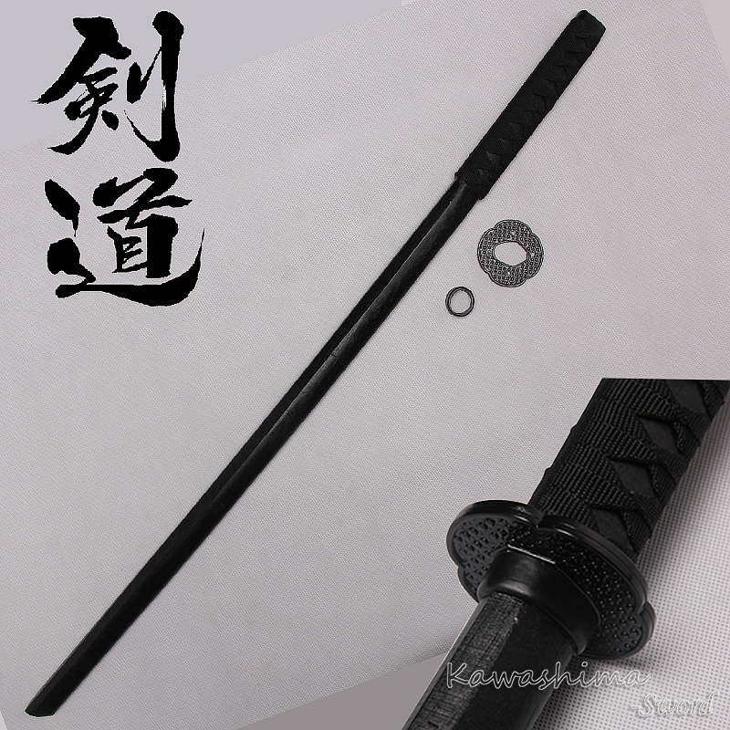 Hard Wooden Sword Samurai Bushido Training Katana Bokken Practice  Kendo Stick PU Sheath Scabbard-Black -100cm