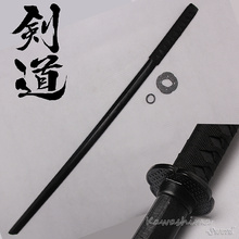 Hard Wooden Sword Samurai Bushido Training Katana Bokken Practice  Kendo Stick PU sheath Scabbard Black  100cm