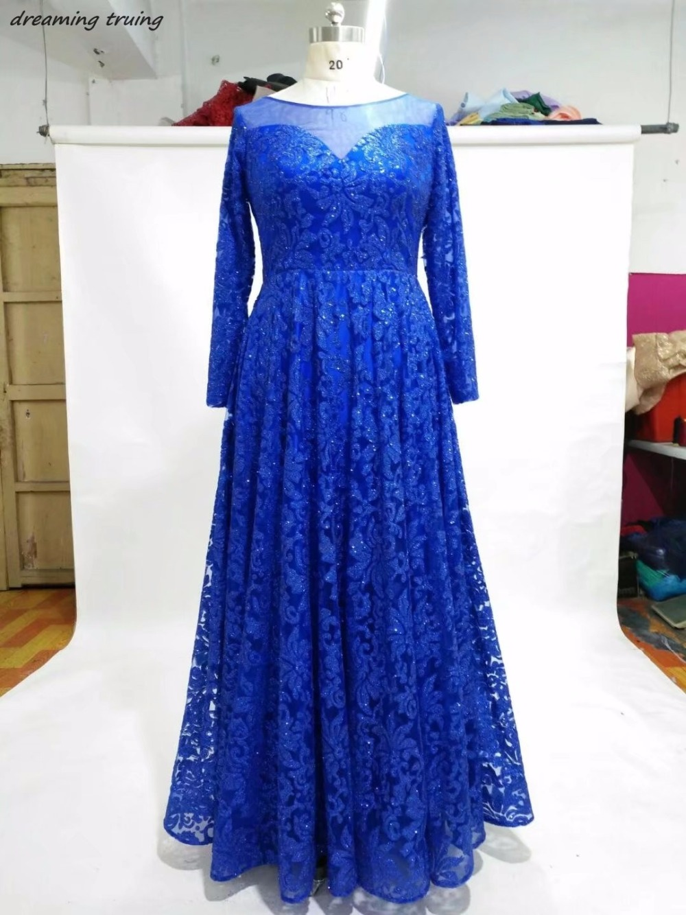 Evening Bling Lace Royal Blue   Prom     Dresses   Long Sleeves Sheer Neck Hollow Back Women Party Gowns For Weddings Vestido De Festa