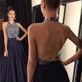 2016 Luxo Preto Prom Vestidos Sexy Halter Frisada de Cristal Backless Longo Vestido de Festa de Alta Qualidade Longos vestidos de graduacion