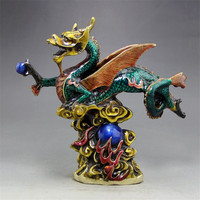New Hot Antique Copper Tire Ornaments Enamel Craft Brass Dragon Home Living Room Office Decoration 18*19.5CM (High * Wide)