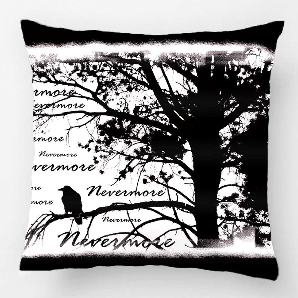 Black And White Nevermore Raven Silhouette Throw Pillow Case Decorative Cushion Cover Pillowcase Customize Gift For Sofa Seat