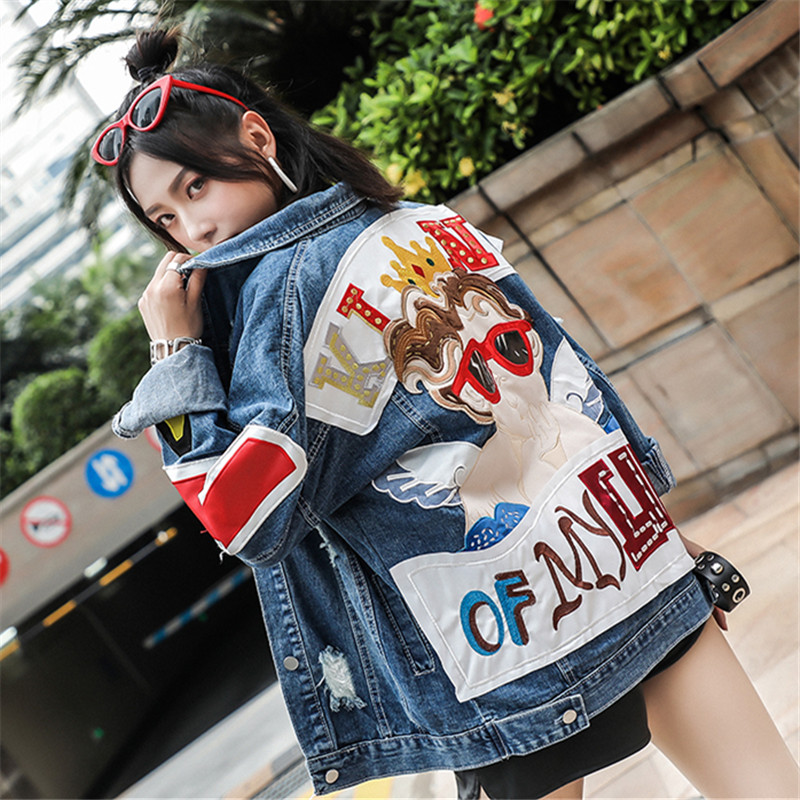 2019 Autumn Women Coat Hole Loose Women Jacket Denim Coat Fashion Punk Hip Hop Cool Coat