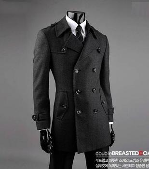 Grey casual Double-breasted wool coat men suits 2016 trench jackets mens wool coats overcoats dress winter plus size S – 9XL