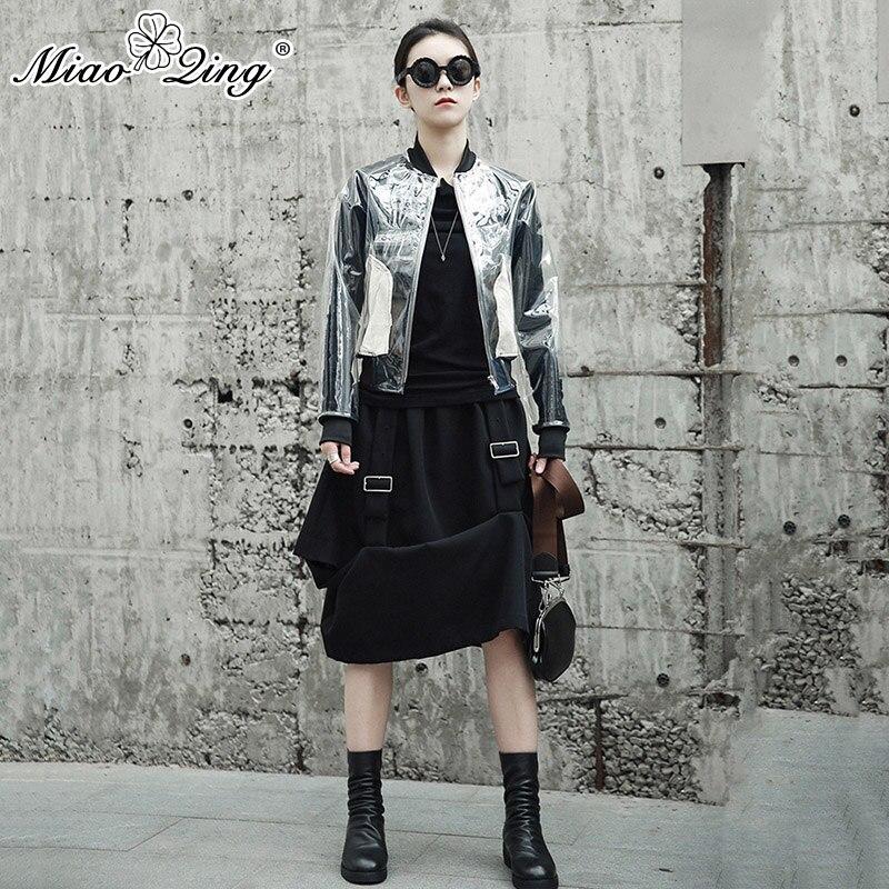 MIAOQING Autumn Women Fashion Clothes Long Sleeve Harajuku Transparent PVC Coats Jackets Casual Female Streetwear Befree Tops