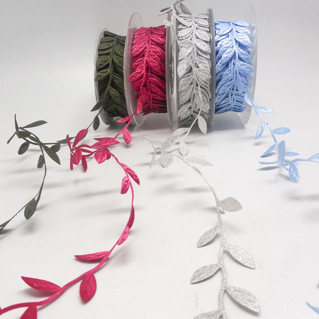 10yds vintage satin leaf leaves vine garlands ribbon sew for Craft ribbons and trims