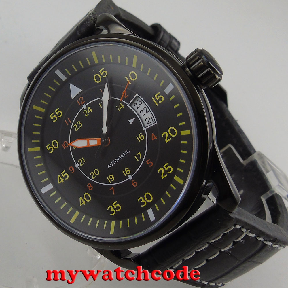 44mm planca black dial PVD case date miyota 8215 automatic movement mens watch44mm planca black dial PVD case date miyota 8215 automatic movement mens watch
