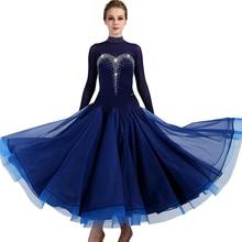 Ballroom Dance Dresses Long Sleeve foxtrot  rhinestone strass Women Stage Waltz Dress blue MQ049