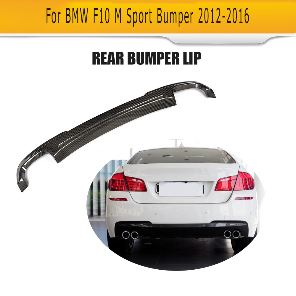 5 Series Real Carbon Fiber Rear Bumper Lip Diffuser spoiler For BMW F10 M Sport Sedan 528i 530i 535i 550i 2012 2016 two outlet|Bumpers|Automobiles & Motorcycles - title=