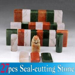 27 stks/set Chinese Seal Stone voor Stempel Zegel snijden Naam Graveren Schilderen Kalligrafie Seal-snijden Stone Art Set