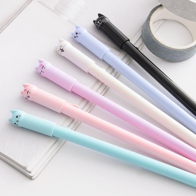 6PCS set kawaii cute cat gel pen 0 5mm children gift stationery School writing supplies