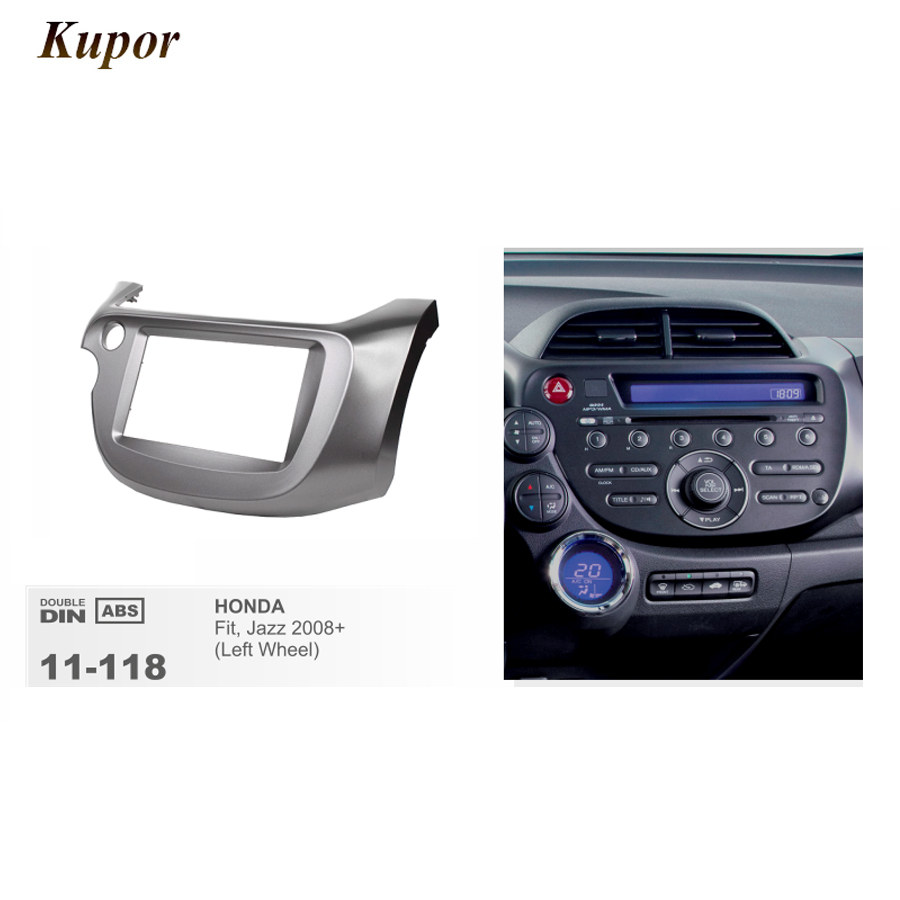 цена на 11-118 Car Radio Fascia For HONDA Fit Jazz 2008-2013 (Left Wheel) Stereo Fascia Dash CD Trim Unit Install Trim Frame Kit