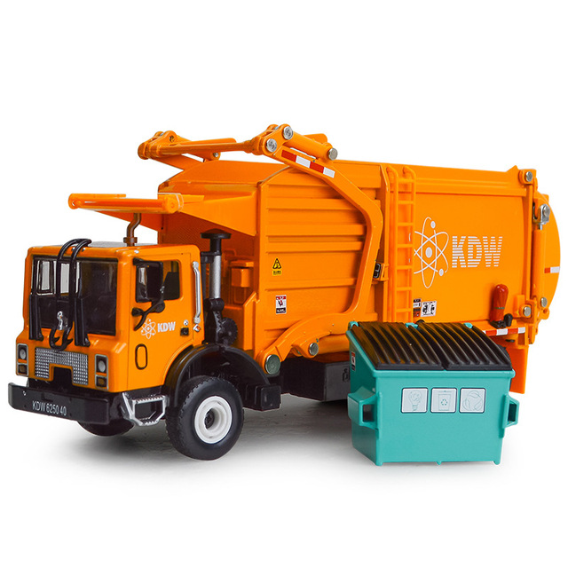 Alloy Diecast Barreled Garbage Carrier Truck 1:24 Waste Material Transporter Vehicle Model Hobby Toys For Kids Christmas Gift