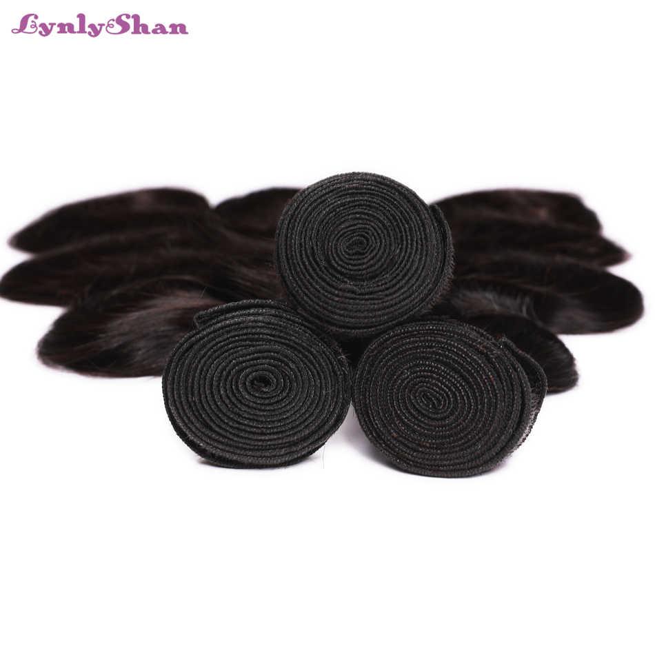 Lynlyshan пучки волос с фронтальной застежка 4 Связки объемная волна кружева фронтальной 13*4 с индийских пучки волос плетение