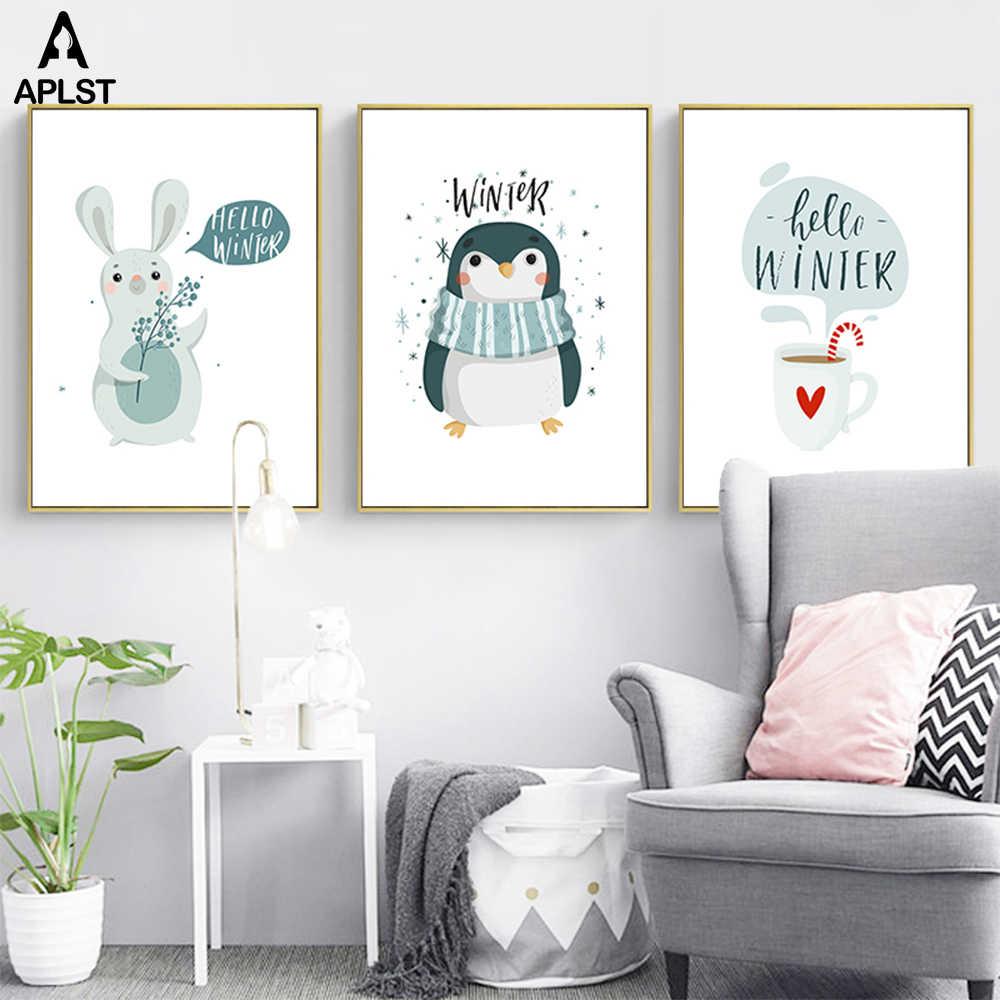Halo Musim Dingin Salju Kanvas Lukisan Cetakan Kartun Hewan Penguin Bunny Printing Salju Pohon Gambar Poster Dekorasi Rumah Aliexpress