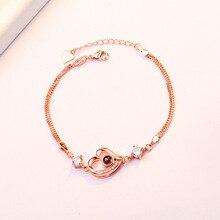 TJP Popular Female Rose Gold Zircon Heart Bracelet For Girls Jewelry Top Quality Silver 925 Women Lady Valentines Day