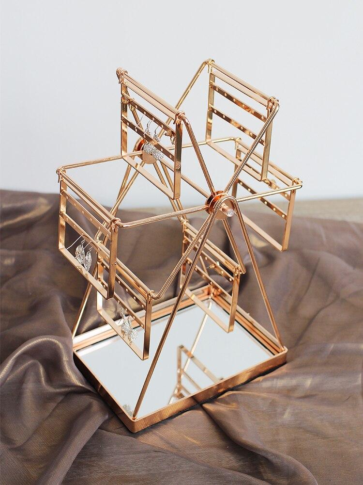 Exquis Heureux grande roue porte-boucles d'oreilles Boucles D'oreilles Collier stand de bijoux Porte-présentoir grande roue Style support en métal
