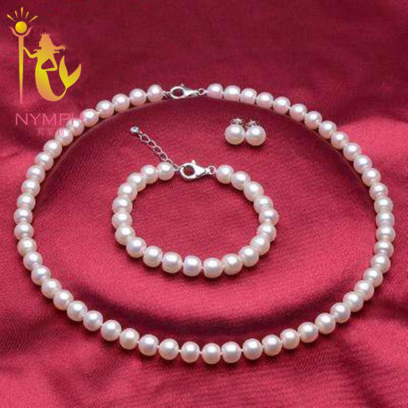 NYMPH fine pearl jewelry sets 8-9mm freshwater pearl necklace bracelet earring jewelry set bridal party gift for women TZ007