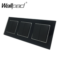 6 Gang Triple Frame EU Standard Wallpad Black Glass Push Button Light Power Switch 3pcs 2 gang 2 Way Switch with Claws