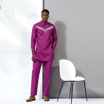african men clothes bazin clothes men suits tops shirt pant 2pieces set Stitching wax material cotton african mens clothing