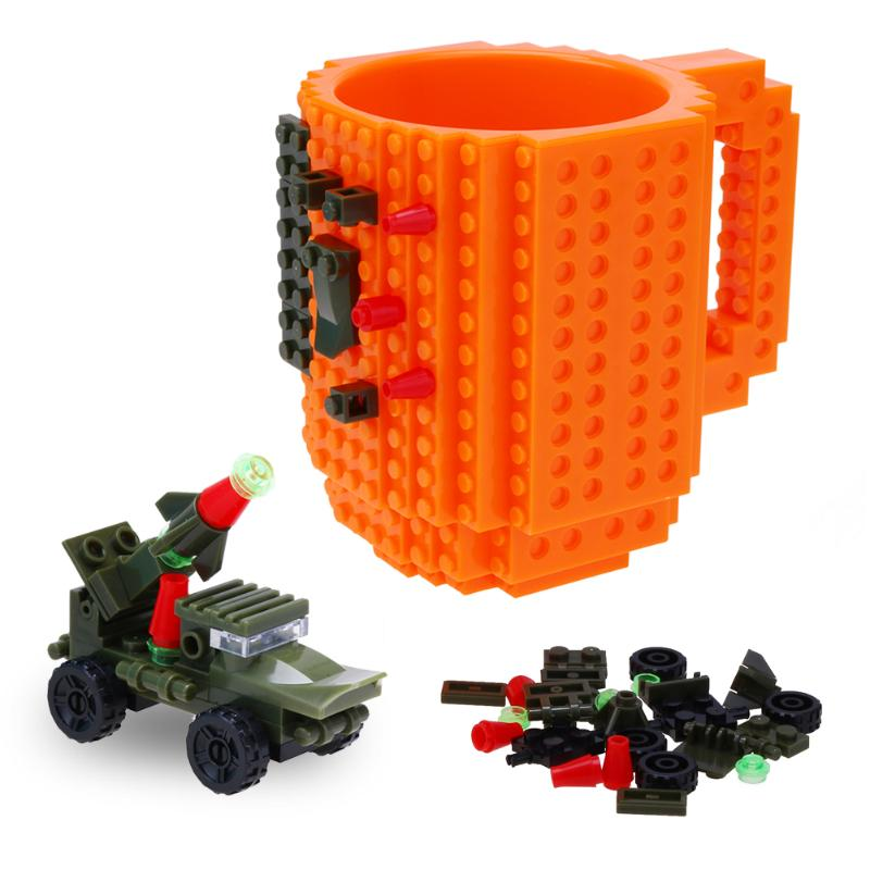 2018 Creative 1 Piece Build a Brick Mug Building Block refrigerated Coffee Cup DIY Block ...