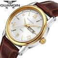 Los Hombres de moda Reloj de la Marca de Lujo GUANQIN Reloj de Cuarzo Analógico Deportes Calidad Reloj de Los Hombres Reloj de Cuero Relojes de Pulsera Relogio masculino