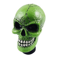 X Autohaux Green Ceramic Skull Head Shape Gear Shift Knob For Auto Car