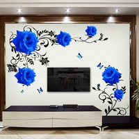 Large Blue Rose Flowers Sofa TV Background Wall Sticker Home Decoration DIY Bedroom Living Room Mural
