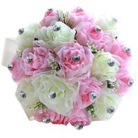 Wedding Bouquet Roses With Diamonds Bridesmaid Bouquet Bridal Bouquet Artificial Flowers for Wedding Party (Pink/Ivory)