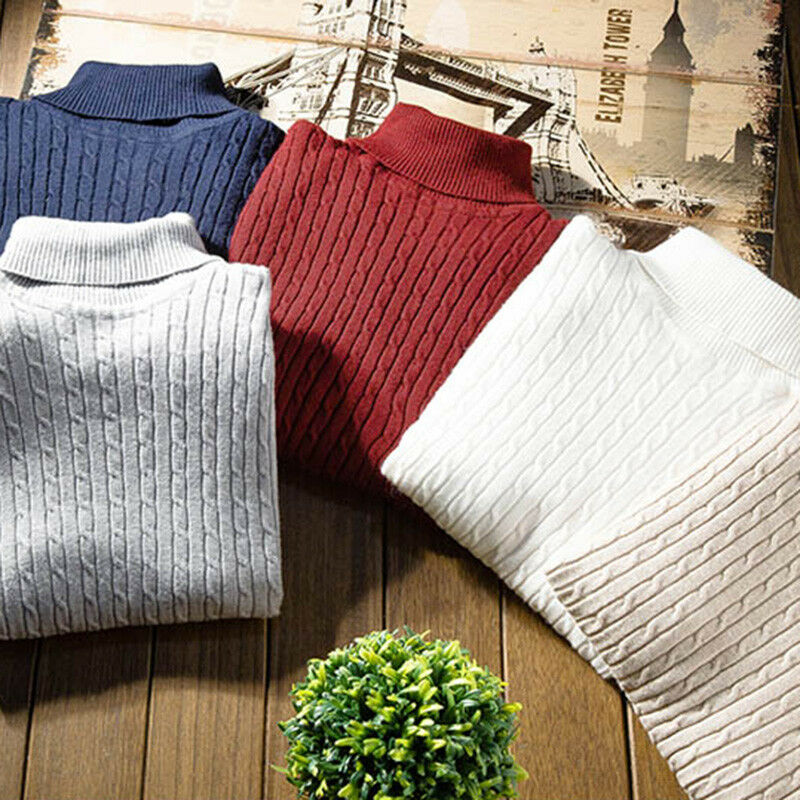 Men's Warm Solid Cotton Long Sleeve High Neck Pullover Jumper Turtleneck Autumn Winter Sweaters Tops Stretch