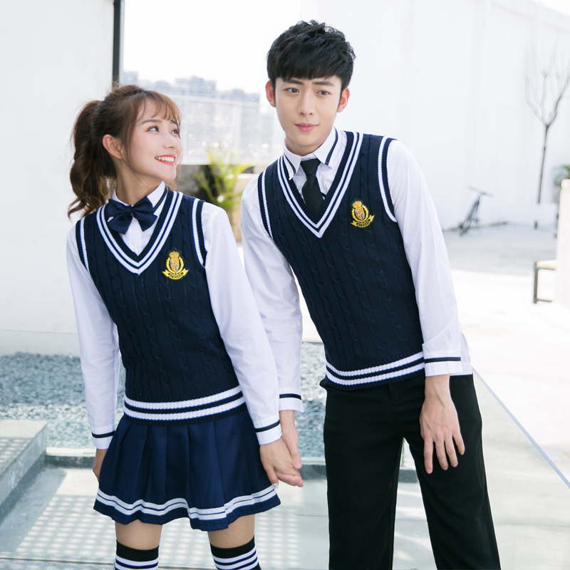 Winter School Uniforms Men And Women Japanese Navy Sailor Students Uniforms College Costume Pleated Plaid Skirt D-0584