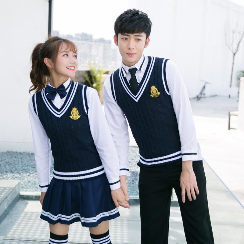 Winter School Uniforms Men And Women Japanese Navy Sailor Students Uniforms College Costume Pleated Plaid Skirt D-0584