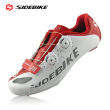 2016 SIDEBIKE Mens Road Cycling Shoes Black White Color Breathable Bicycle Self-locking Bike Shoes Size 40-46 Chaussure De Velo