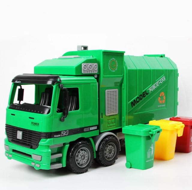 1/22 Anak Side Loading Truk Sampah Dapat Diangkat dengan 3 Tempat Sampah Sampah Mobil Mainan Ukuran Besar Anak-anak Hadiah mainan Gratis Pengiriman