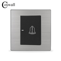 1 Gang Luxury Doorbell Switch Push Button Wall Switch Interruptor Brushed Silver Panel Power Conmutador 10A