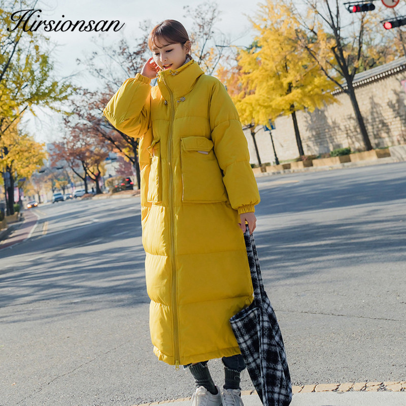Casual Femme Épais Blanc 2018 yellow Femmes Lâche Manteau Long Parka White Hirsionsan Manteaux Coréen Extra Hiver Veste Chaud rembourré Coton wOPn0X8k