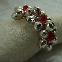 Серебристый акриловый кольцо-цветок для салфетки, кристалл beaed держатель для салфеток