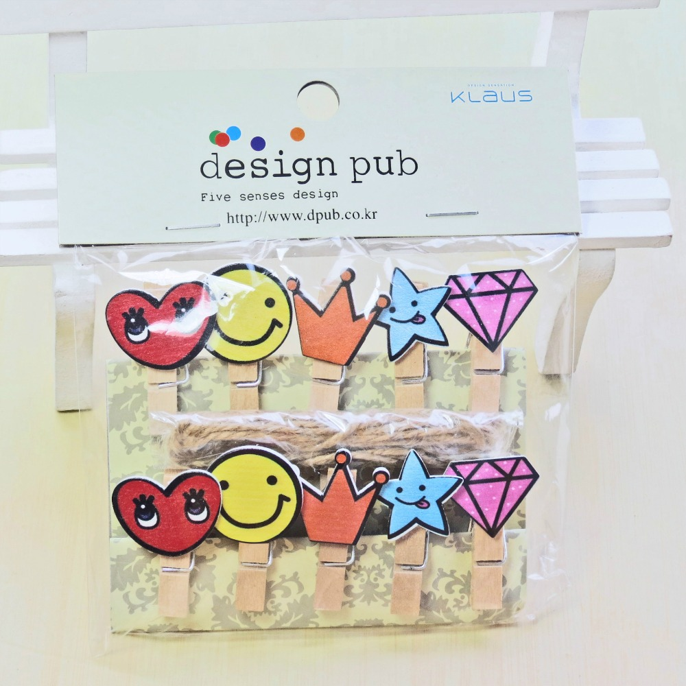 10 Pcs/Lot Crown Diamond Series Wooden Clip Photo Paper Clothespin Craft Clips Party Decoration Clip With Hemp Rope
