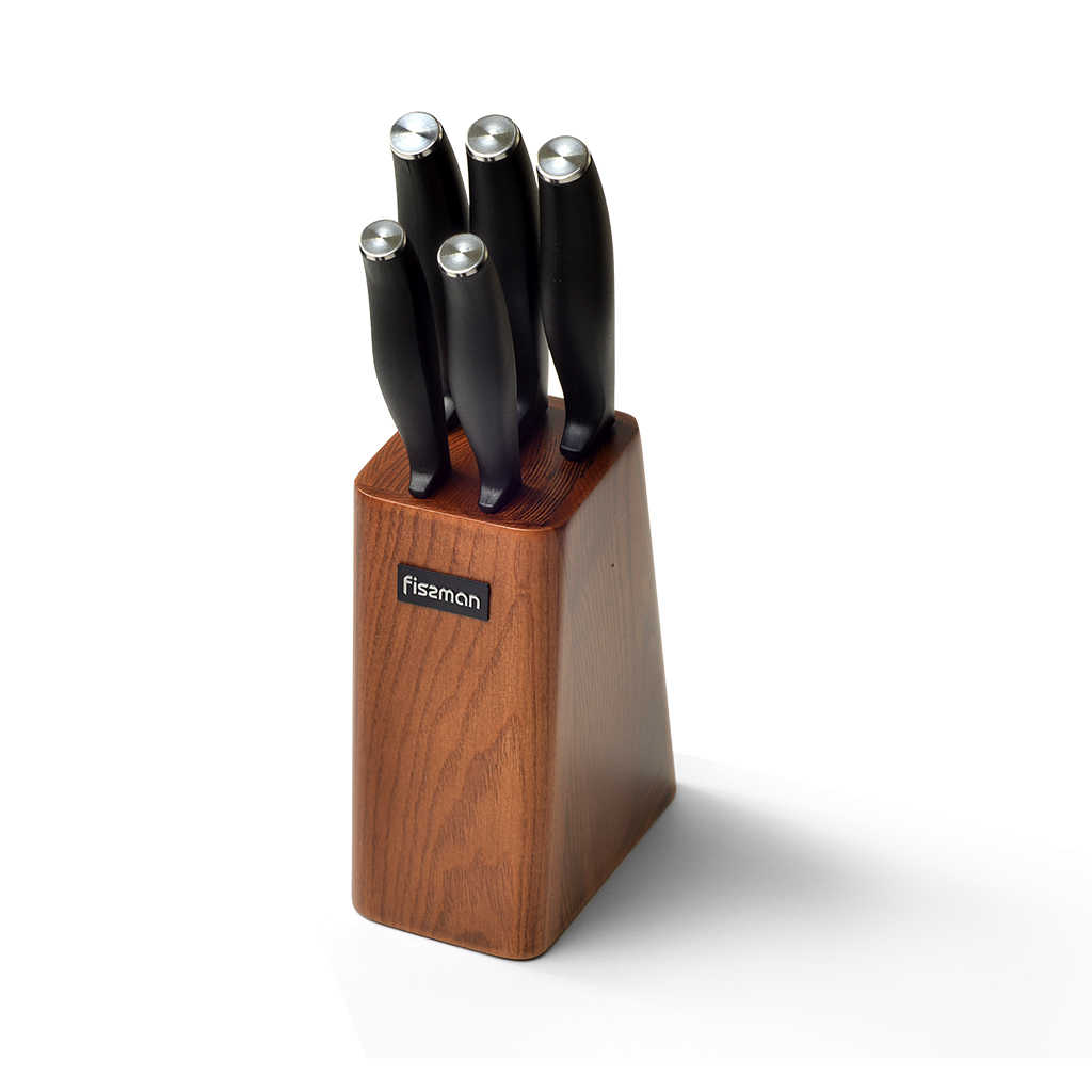 FISSMAN Stainless Steel Kitchen Knife Set with Wooden Knife Block-5pcs Knives inc Chef Santoku Boning Utility Paring Knife