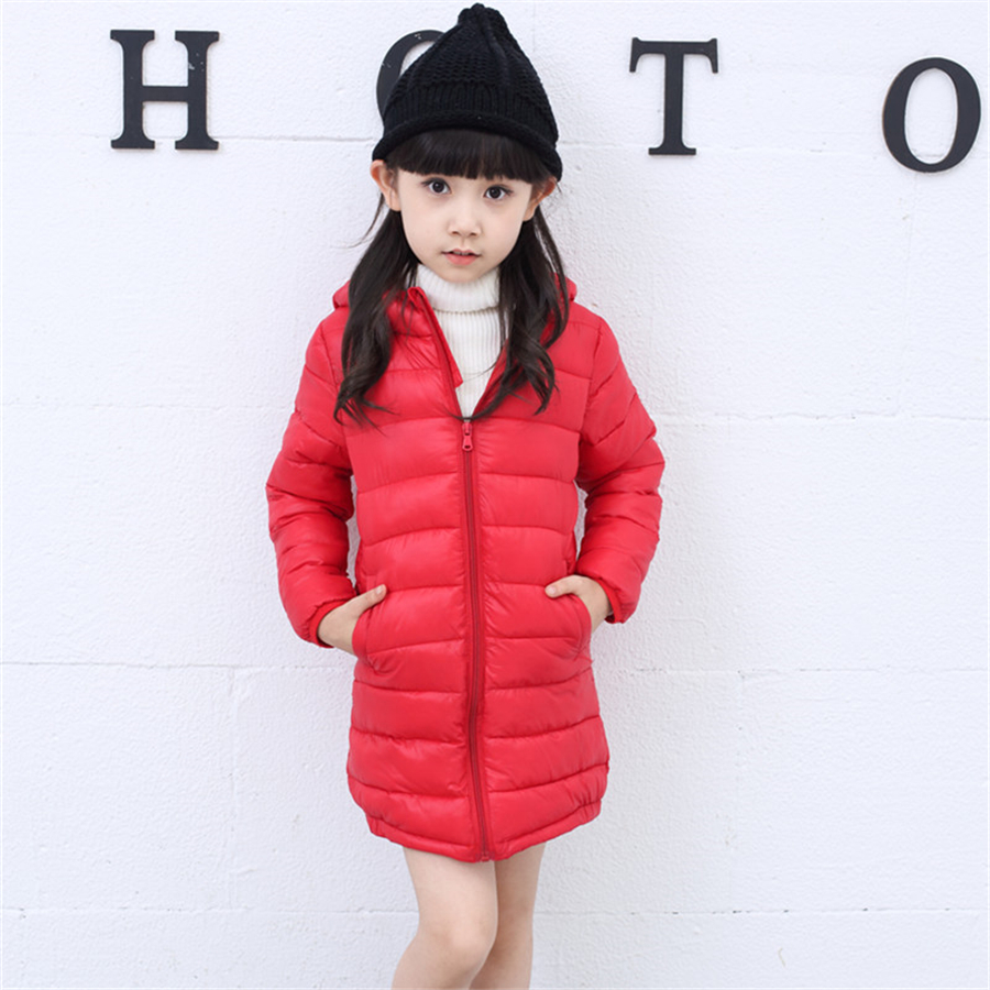 2017 Newest 2 11Y Ultra light baby Girls down jacket 90 duck down long coat winter