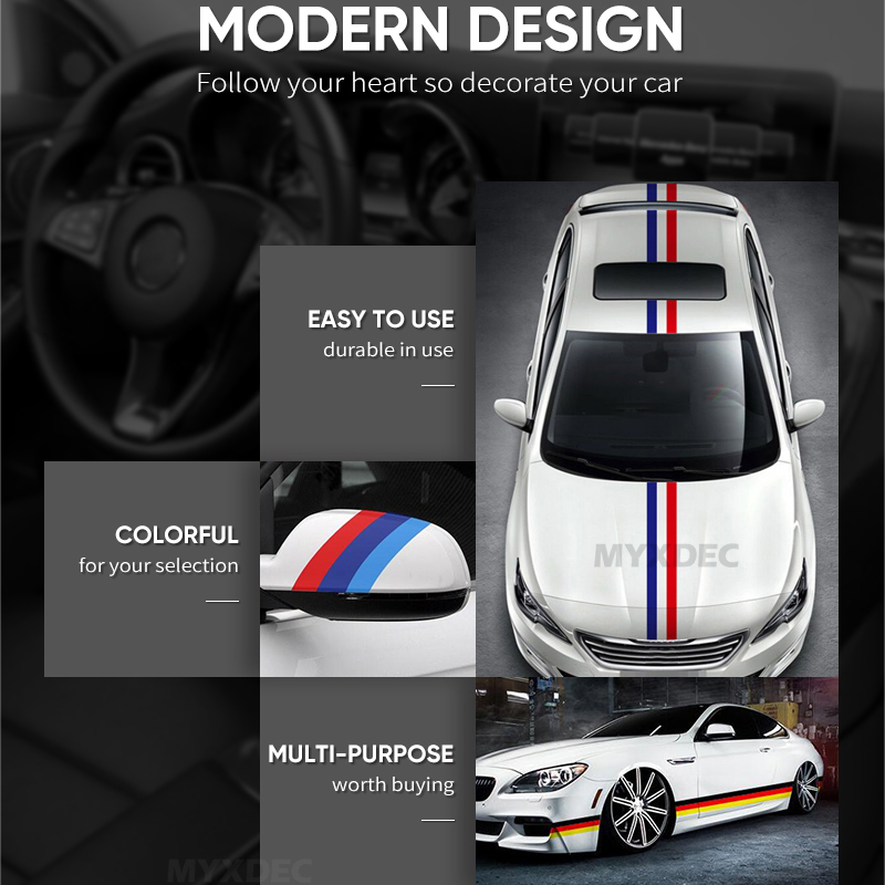 Image 3 - 5Meters DIY Decoration Decals Exterior Auto Motorcycle Film Waterproof PVC Sticker Covers For VW BMW 3 Colors Line Car Styling-in Car Stickers from Automobiles & Motorcycles