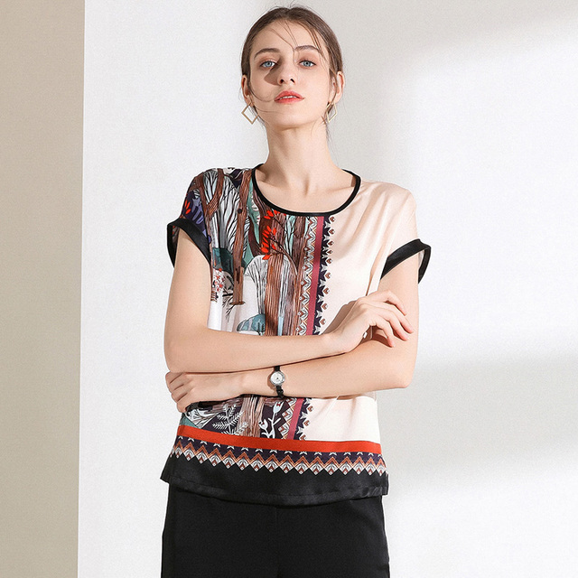 Tees Women 100% Silk Simple Positioning Print Fabric O Neck Short Sleeves 3 Colors Short Sleeve Casual Top New Fashion 2019