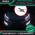 PUIYUE стайлинга Автомобилей Freeshipping 9600Lm 2011-2015 Elantra Фары Автомобиля Angel Eyes LED Бровей Дневного Света