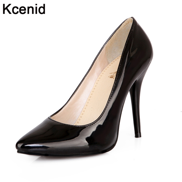 25008df98efa Kcenid Plus size 30-48 PU leather women pumps new fashion sexy pointed toe  shallow shoes woman high heels party shoes black red