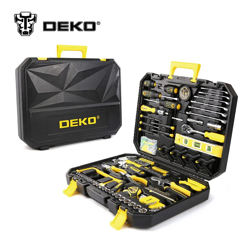DEKOPRO Hand Tools Set General Household Hand Tool Kit with Plastic Toolbox Storage Case Hammer Plier Screwdriver Knife 147 pcs portable professional watch repair tool kit set solid hammer spring bar remover watchmaker tools watch adjustment