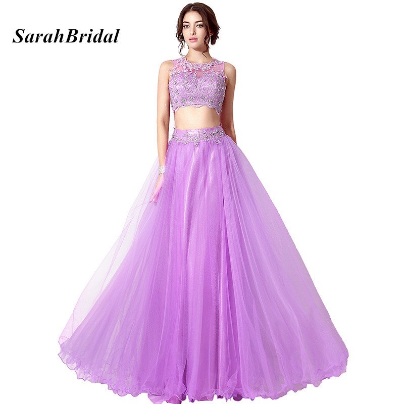 Cheap In Stock Lilac 2 Piece   Prom     Dresses   With Lace Appliques Long Crop Top And Skirt Evening   Dress   Formal Party Gowns For Women