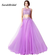 Cheap In Stock Lilac 2 Piece Prom Dresses With Lace Appliques Long Crop Top And Skirt Evening Dress Formal Party Gowns For Teens