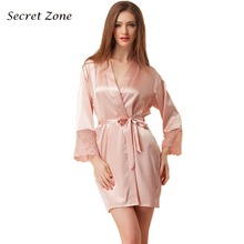 Secret Zone Sexy Lace Full Women Single Robe With Belt Cardigan Female Soft Bathrobe High Quality
