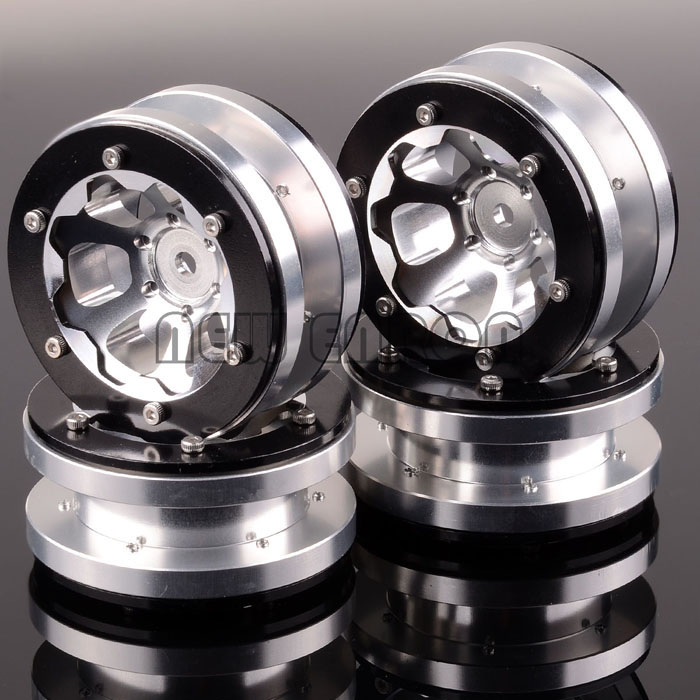 NEW ENRON RC 4PCS Aluminum 1.9 Beadlock 6 Spoke 1061 Wheel Rim For 1:10 Rock Crawler mxfans 4 x rc1 10 rock crawler black alloy 7 spoke wheel rim simulation rubber tyre